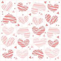 sömlös doodle rosa hjärtmönster bakgrund vektor