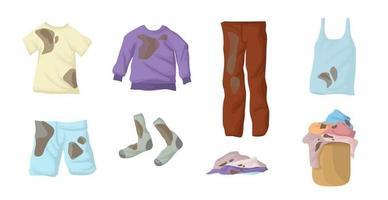 schmutziges Wäscheset. Schlammflecken auf der Kleidung. Socken, Leinen, T-Shirt, Sweatshirt, Jacke, Shorts, Jeans in einem Weidenkorb. vektor