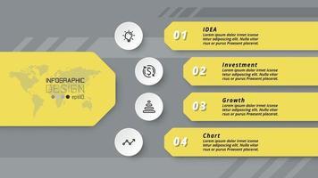 4 Arbeitsschritte. Unternehmensorganisation, Unternehmen, Bildung, Werbung, Vektor, Infografik Design.