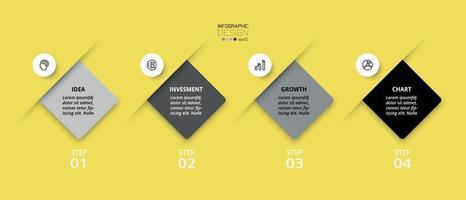 4 Schritte Infografik. kann zur Planung oder Erläuterung von Geschäfts- oder Organisationsinformationen verwendet werden.