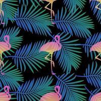sömlöst tropiskt mönster med flamingor och palmblad