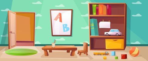 Spielzimmer für Kinder oder Kinder mit Spielen, Spielzeug, abc. Innenraum mit offener Tür und Kleiderschrank. Grundschulklasse mit Tisch zum Lernen. Tapete mit Wolkenillustration.