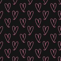 sömlös alla hjärtans dag mönster bakgrund från rosa hand rita hjärta vektor