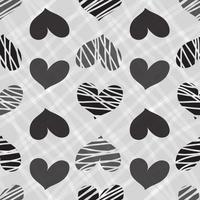 sömlös hand rita hjärtmönster bakgrund vektor