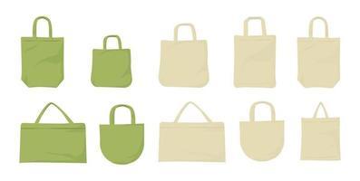 väska med ekotyg. väska stor uppsättning. vektor