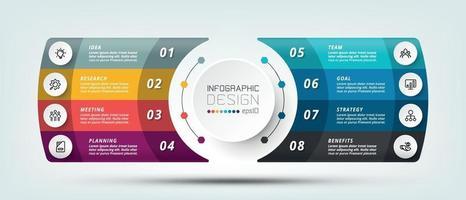 Informationen, die auf moderne Weise in einem Textfeldformat mit 8 zu bearbeitenden Teilen dargestellt werden und für die Planung und Berichterstellung verwendet werden. Workflow-Erklärung, Infografik-Design.