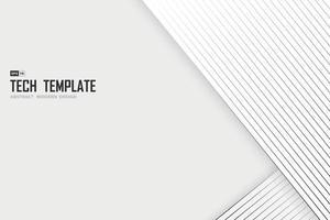 abstrakt svart linje tech rand på vit bakgrund designmall. illustration vektor