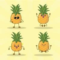Ananas niedlichen Ausdrucksset Sammlung. Ananas Maskottchen Charakter