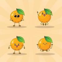 orange niedlichen Ausdrucksset-Sammlung. orange Maskottchen Charakter