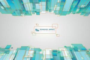 abstraktes blaues grünes quadratisches Musterdesign des Technologiehintergrunds. Illustrationsvektor vektor