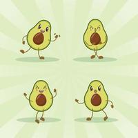 Avocado niedlichen Ausdruckssatz Sammlung. Avocado-Maskottchen-Charakter