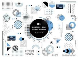 abstrakte blaue und schwarze geometrische Memphisform der modernen Elemente decken Designhintergrund ab. Illustrationsvektor
