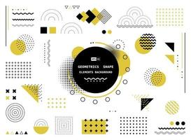 abstrakte gelbe Gekritzelwellenmusterentwurf der geometrischen Elementartschablone. Tech Template Design Artwork Hintergrund.
