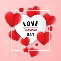 Liebe zum Valentinstag. Glücklicher Valentinstag und Unkrautentwurf Papierherz. rosa Hintergrund mit Ornamenten, Herzen.