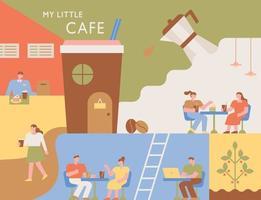 Café-Poster. Innenraum eines Coffeeshops mit verschiedenen Layouts. Leute sitzen am Tisch und trinken Kaffee.