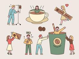 Menschen, die süchtig nach Kaffeekoffein sind. Jemand, der in eine Tasse fällt, eine Person wird von einem Wecker getroffen, eine Person trinkt mit einer großen Dose, jemand springt aus einer Tasse, jemand trägt einen Stockkaffee