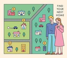 Ein Paar sucht ein Haus. Ein Paar steht und eine Karte ist seitlich ausgebreitet. vektor