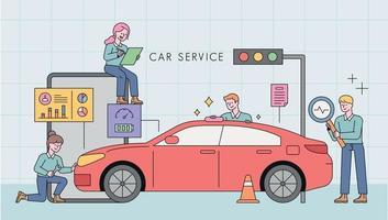 bilservicestation. professionella ingenjörer analyserar bilen. vektor