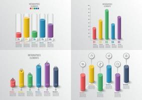 Grafiken und Diagramme eingestellt. Statistik und Daten, iinfografisches Geschäftskonzept. für Inhalt, Diagramm, Flussdiagramm, Schritte, Teile, Zeitleisten-Infografiken, Workflow, Diagramm. vektor