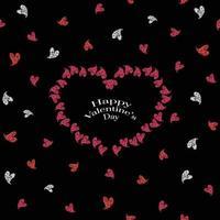 glücklicher Valentinstagmusterhintergrund mit Glitzerherzrahmen