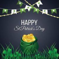 st. Patrick's Day Pot aus Gold und Kleeblättern