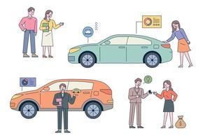 bilåterförsäljare. kunderna kontrollerar bilar. förklarar bilhandlarna. vektor