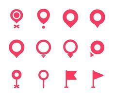 samling av platsnålar. röd pekersymbol för stift på kartan för att visa platsen. vektor