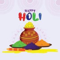 flache Design holi indische Festivalfeier Illustration
