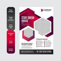 rot und schwarz Immobiliengeschäft Flyer Layout vektor