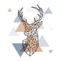 geometrischer Kopf des skandinavischen Hirsches. polygonaler Stil.