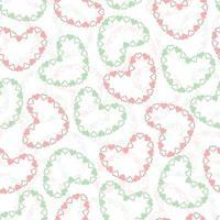 nahtloser Valentinstag Musterhintergrund mit rosa und grünem Herzrahmen