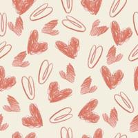 sömlös alla hjärtans dag mönster bakgrund med hand dra rosa hjärta vektor