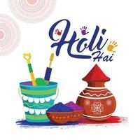 Holi Hintergrundkonzept mit Farbpistole, Schlammtopf mit Farbe und Farbschale