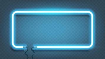 Neon Rechteck Lampe Wandschild isoliert. Vektor blau Power Glühbirne Banner, Lichtlinie oder Neonrahmen für Ihr Design.