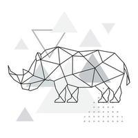 månghörnigt noshörning på abstrakt bakgrund med trianglar. geometrisk stil affisch. vektor
