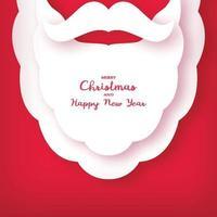Origami des Bartes und Schnurrbart des Weihnachtsmannes. Weihnachtskarte. Neujahr.
