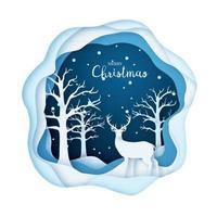 Papierkunstillustration, Hirsch in einem verschneiten Wald. Frohe Weihnachten und ein glückliches Neues Jahr.