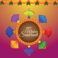 Hintergrund für glückliche Makar Sankranti mit Drachen