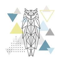polygonale Eule auf abstraktem Hintergrund mit Dreiecken. Plakat im skandinavischen Stil.