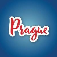 Prag - handgezeichneter Name der tschechischen Hauptstadt. Aufkleber mit Beschriftung im Papierschnittstil.