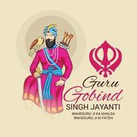 Vektor-Illustration eines Hintergrunds für glückliches Guru-Gobind-Singh-Jayanti-Festival für Sikh-Feier.