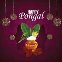 glückliche pongal indische Festivalfeier vektor