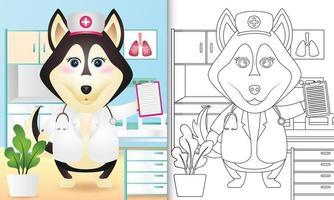 Malbuch für Kinder mit einer niedlichen Husky-Hundekrankenschwester-Charakterillustration