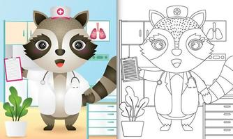 Malbuch für Kinder mit einer niedlichen Waschbärkrankenschwester-Charakterillustration