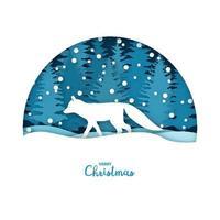Frohe Weihnachten Karte. weißer Fuchs im Schneewald. Grußkartenschablone im Papierschnitthandwerksstil. vektor