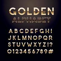 gyllene glansigt teckensnitt. engelska alfabetet och siffror tecken. metalliska bokstäver. vektor