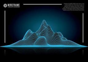 abstrakter Drahtgitter-Landschaftshintergrund. Cyberspace neonblaue Bergvektorillustration.