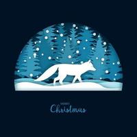 Weihnachtskarte mit einem laufenden weißen Fuchs im Wald. Grußkartenschablone im Papierschnitthandwerksstil.