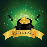 Saint Patrick's Day Design mit Goldmünzen und grünen Getränken vektor