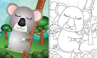 Malbuch für Kinder mit einer niedlichen Koala-Charakterillustration vektor